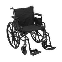 McKesson Lightweight Wheelchair with Flip Back, Padded, Removable Arm, Composite Mag Wheel, 20 in. Seat, Swing-Away Footre...
