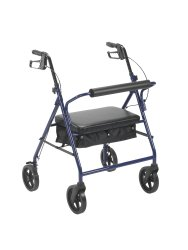 McKesson 4-Wheel Bariatric Rollator, 8 in. Wheel, 37 - 39 in. Handle, Blue, 400 lbs, Steel Frame
