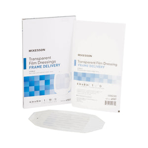 McKesson Octagonal Sterile Dressing with Frame-Style Delivery, 6 x 8 Inch, Transparent