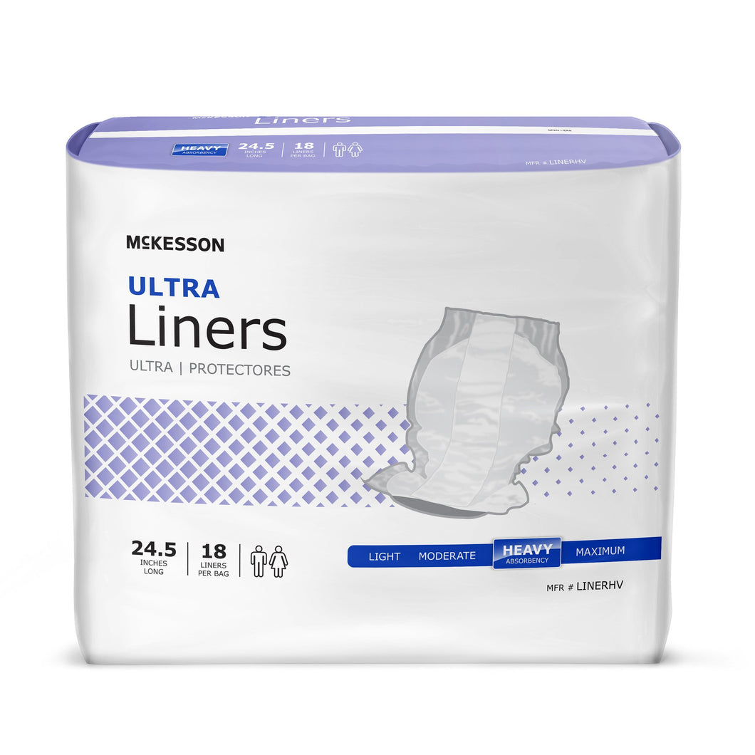 McKesson Ultra Heavy Absorbency Incontinence Liner, 241/2-Inch Length