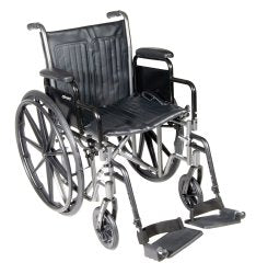 McKesson Standard Wheelchair with Padded, Removable Arm, Composite Mag Wheel, 18 in. Seat, Swing-Away Footrest, 300 lbs