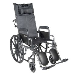McKesson Reclining Wheelchair with Padded, Removable Arm, Composite Mag Wheel, 20 in. Seat, Swing-Away Elevating Footrest,...