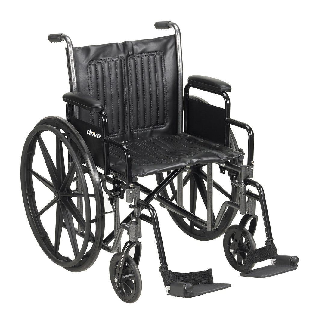 McKesson Standard Wheelchair with Padded, Removable Arm, Composite Mag Wheel, 20 in. Seat, Swing-Away Footrest, 350 lbs.