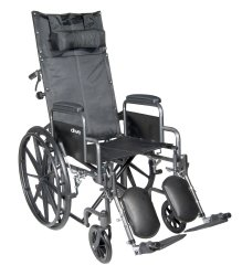 McKesson Reclining Wheelchair with Padded, Removable Arm, Composite Mag Wheel, 18 in. Seat, Swing-Away Elevating Footrest,...