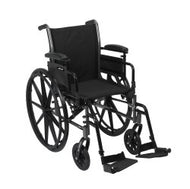 McKesson Lightweight Wheelchair with Flip Back, Padded, Removable Arm, Composite Mag Wheel, 16 in. Seat, Swing-Away Footre...