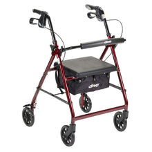 Load image into Gallery viewer, McKesson 4-wheel Rollator, Red