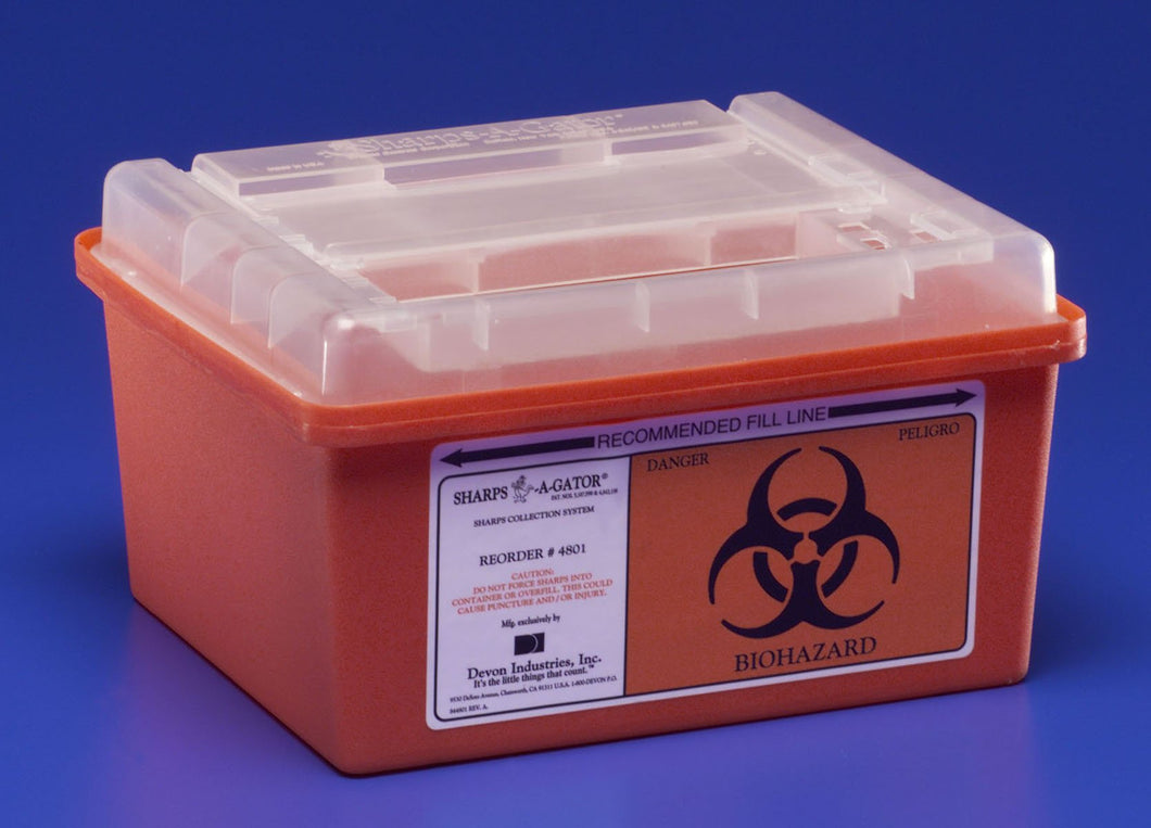 Sharps-A-Gator(TM) Multi-purpose Sharps Container