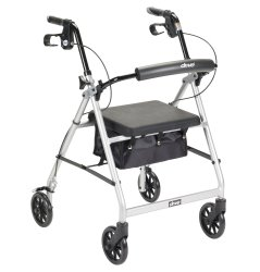 McKesson 4-wheel rollator, 6 in. Wheel, 32 - 37 in. Handle, Silver, 300 lbs, Aluminum Frame