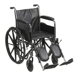 McKesson Standard Wheelchair with Padded, Removable Arm, Composite Mag Wheel, 18 in. Seat, Swing-Away Elevating Footrest, ...