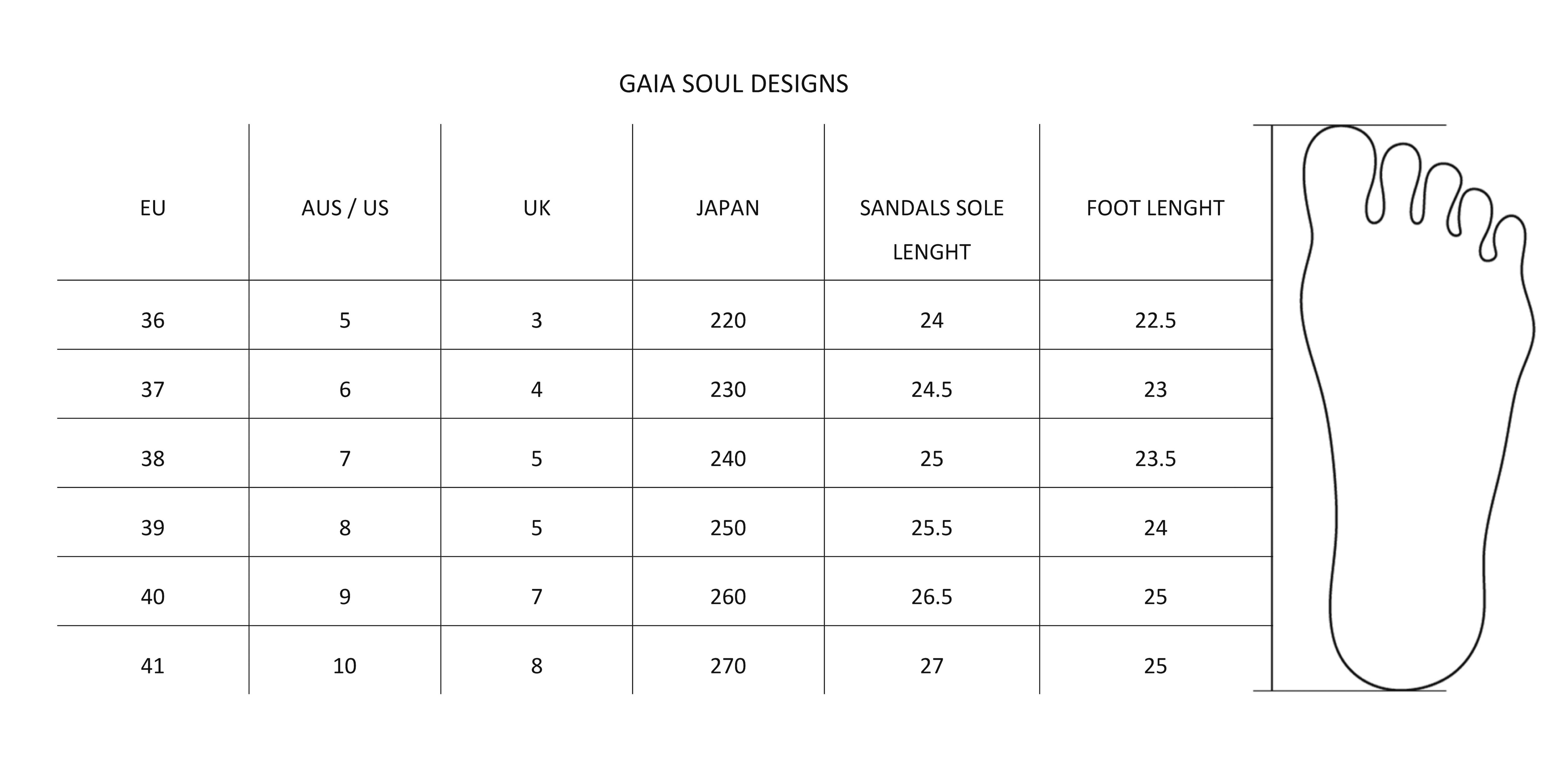 gaia soul designs sizing guide