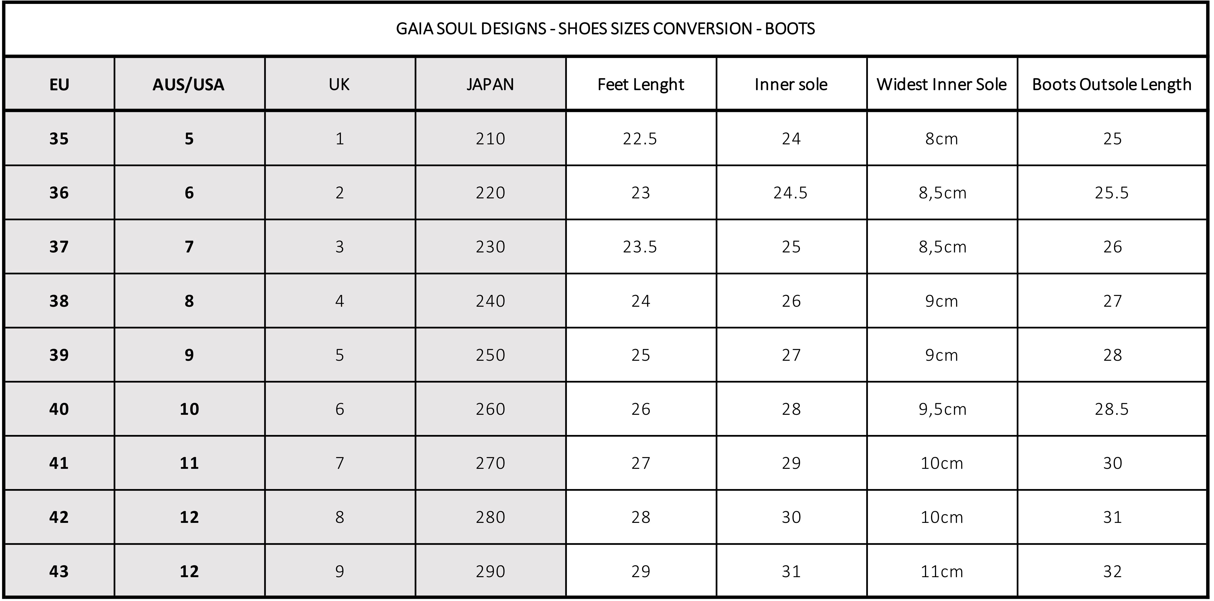 size chart boots