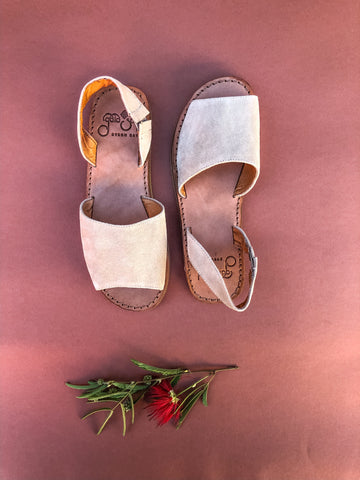SALE Ibiza Sandals - Light Tan Suede Leather