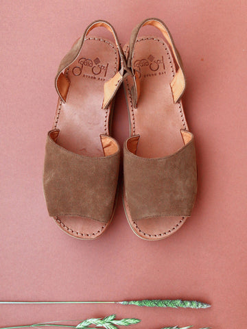 SALE Ibiza Sandals - Brown Choco Suede Leather