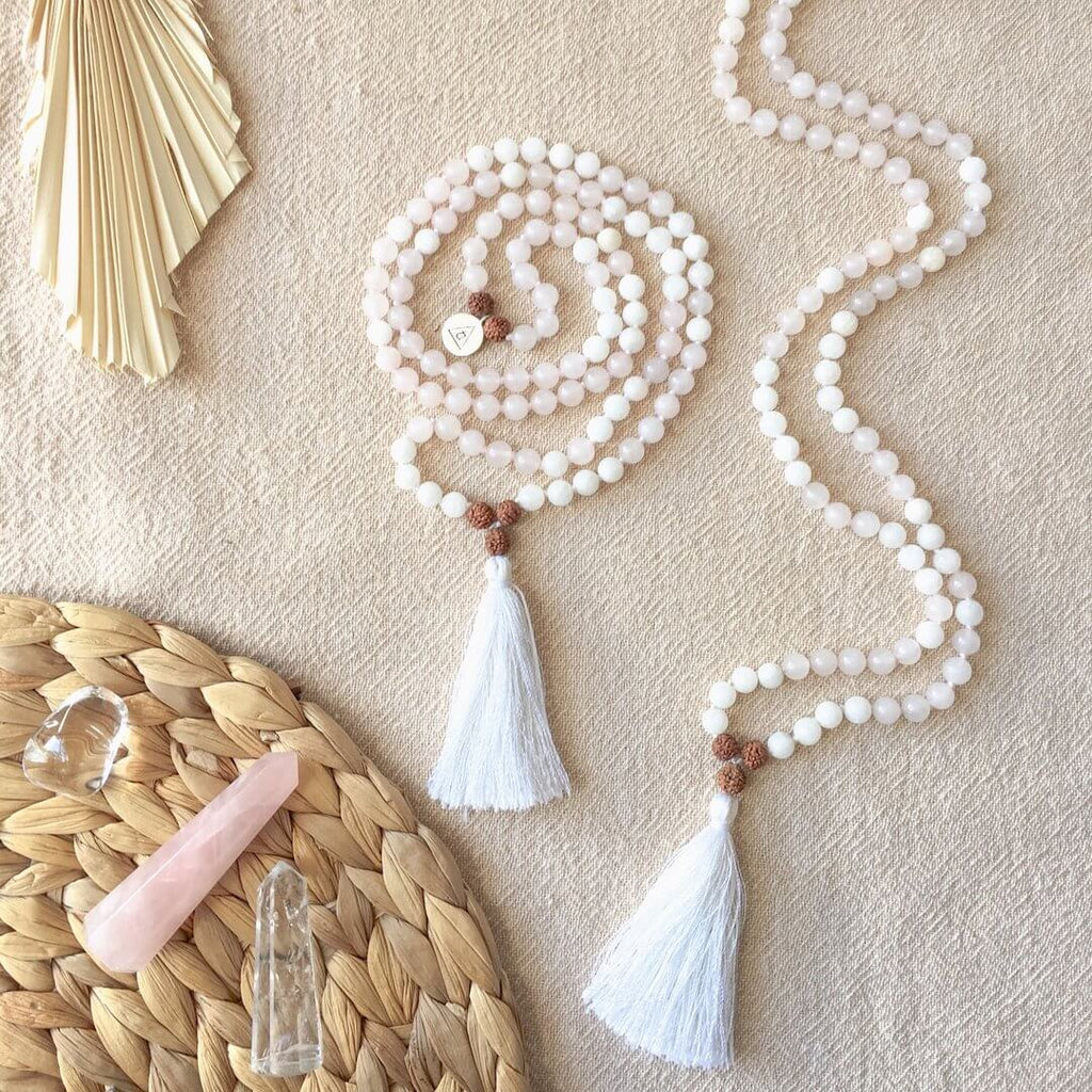 LOVE & INTUITION - Rose Quartz & White Moonstone Mala