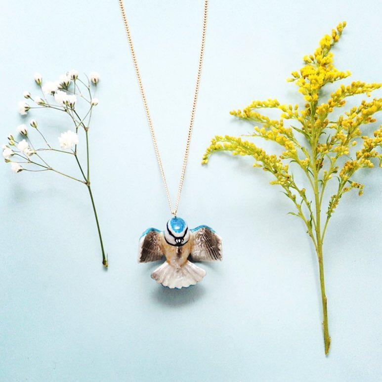 Tiny Flying Bluetit Necklace