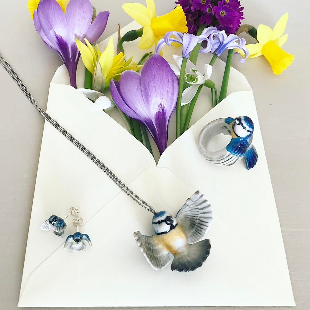 Flying Bluetit Stud Earrings