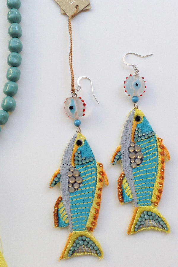 Fish Embroidered earrings