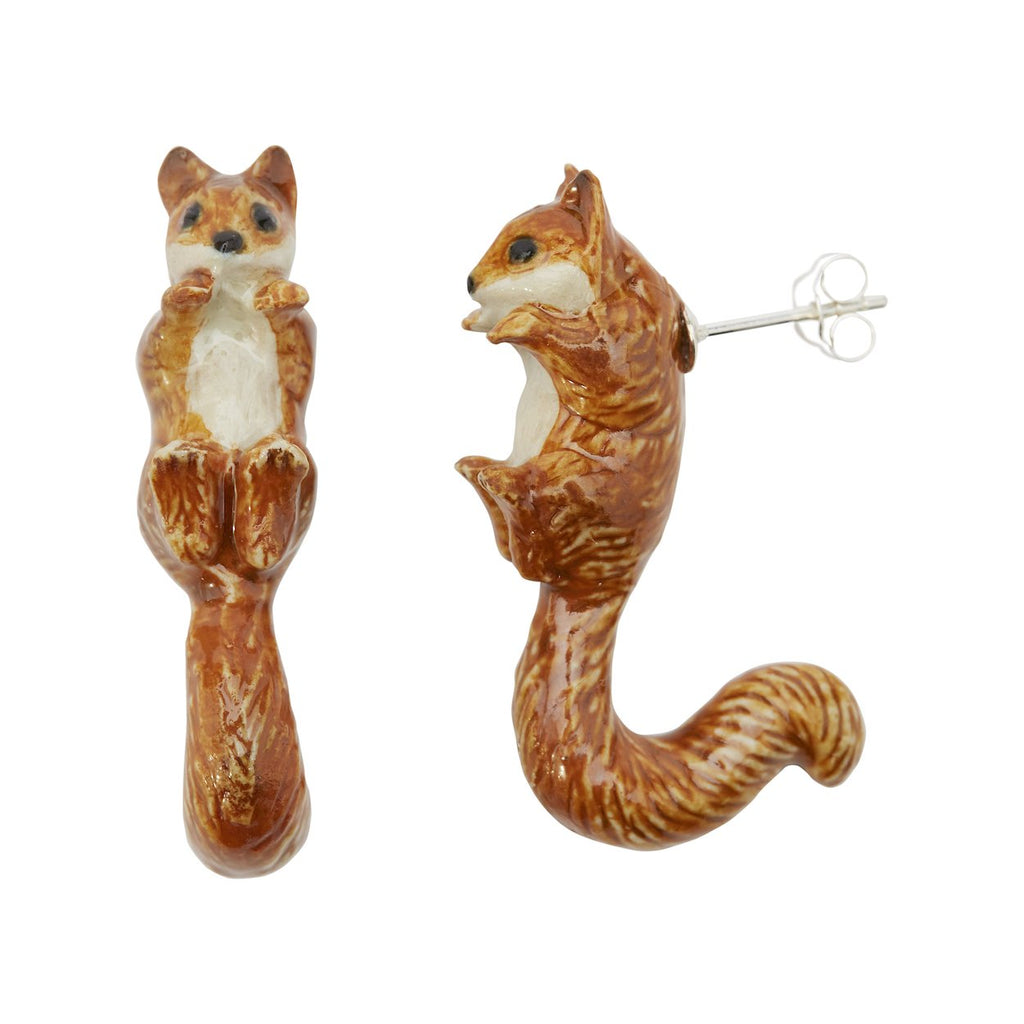 Squirrel loop tail earrings porcelain
