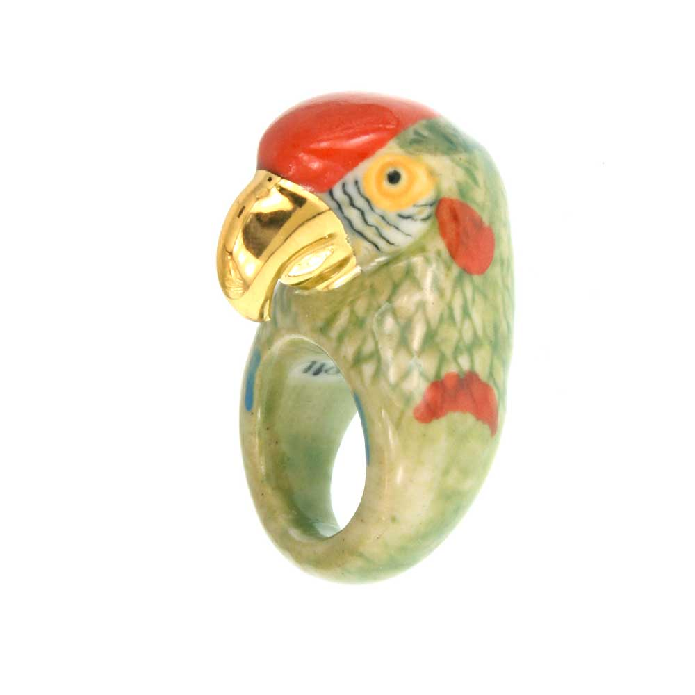 Gold and Green Parrot Ring