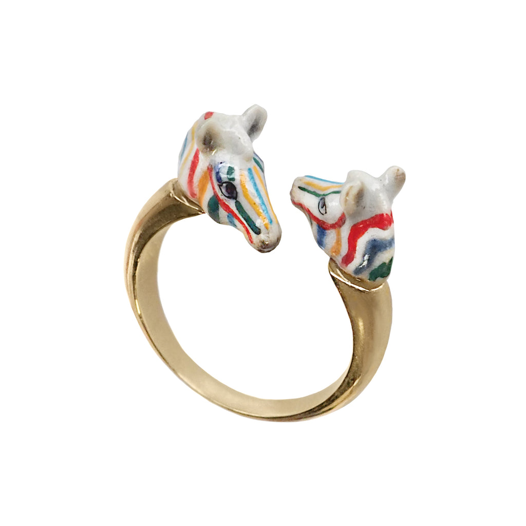 Colorful Zebra face to face ring