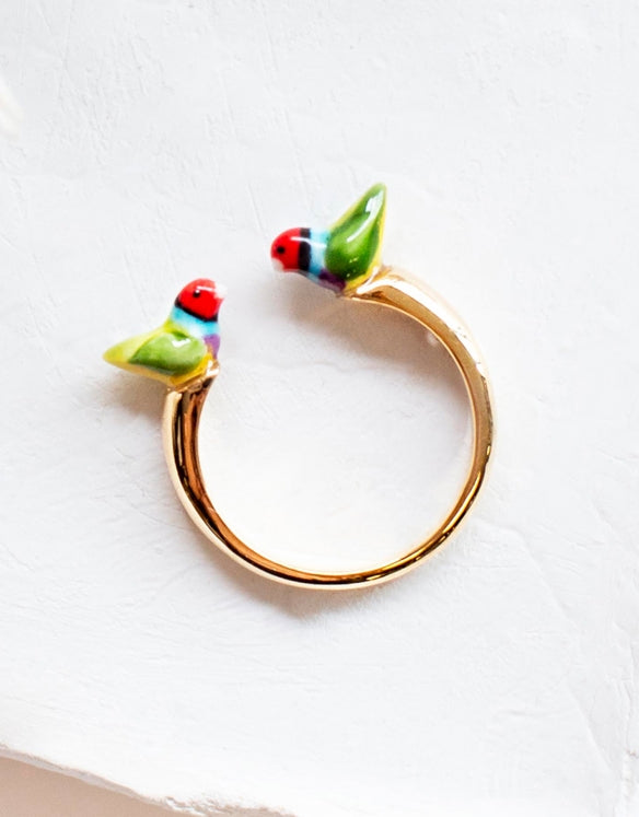 Gouldian Finch face to face ring