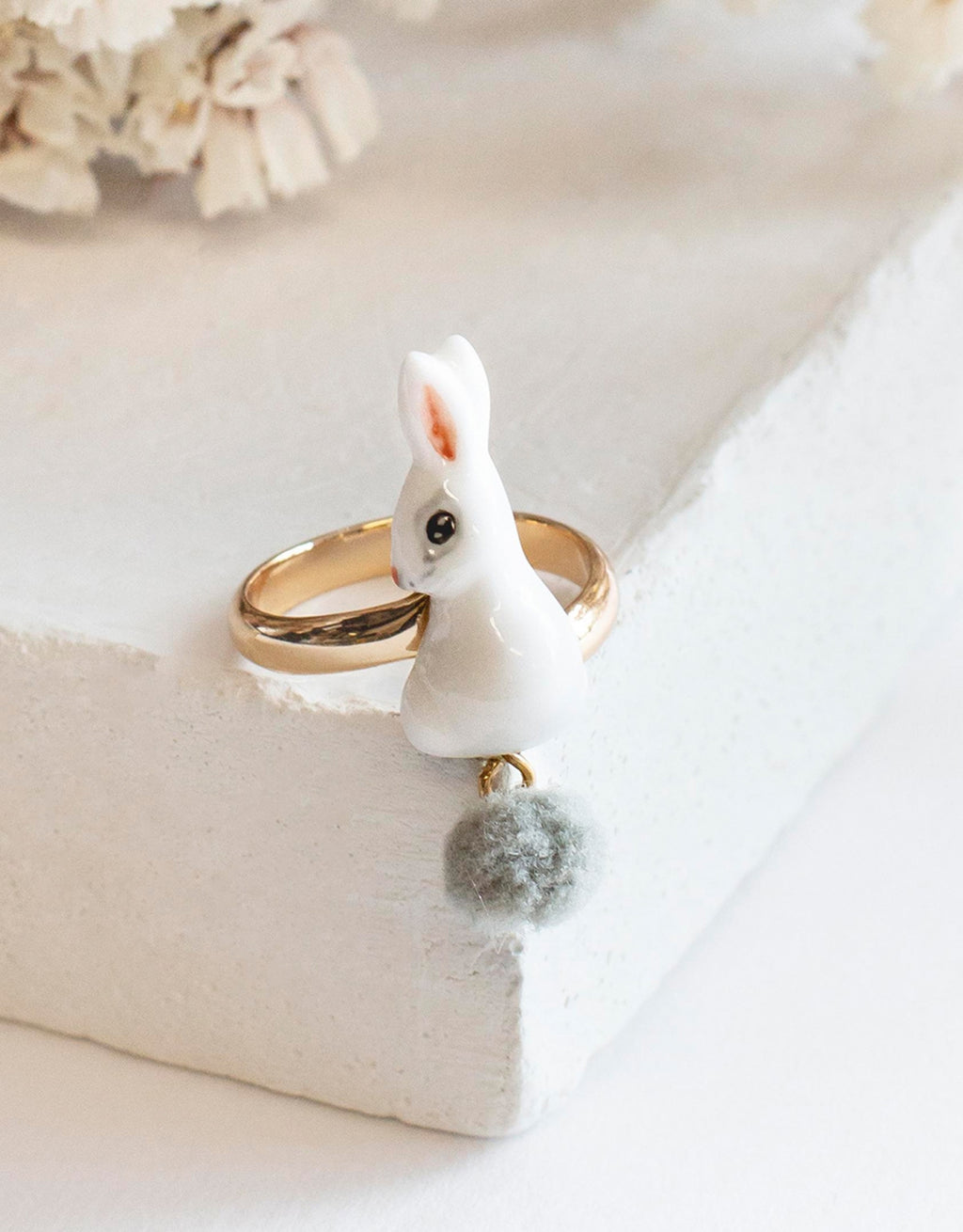 White Rabbit With Pompom Ring