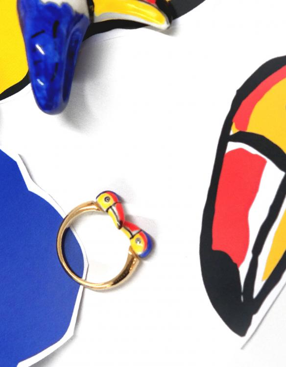 Limited Edition Castelbajac Paris x Nach Toucan Face to Face Ring