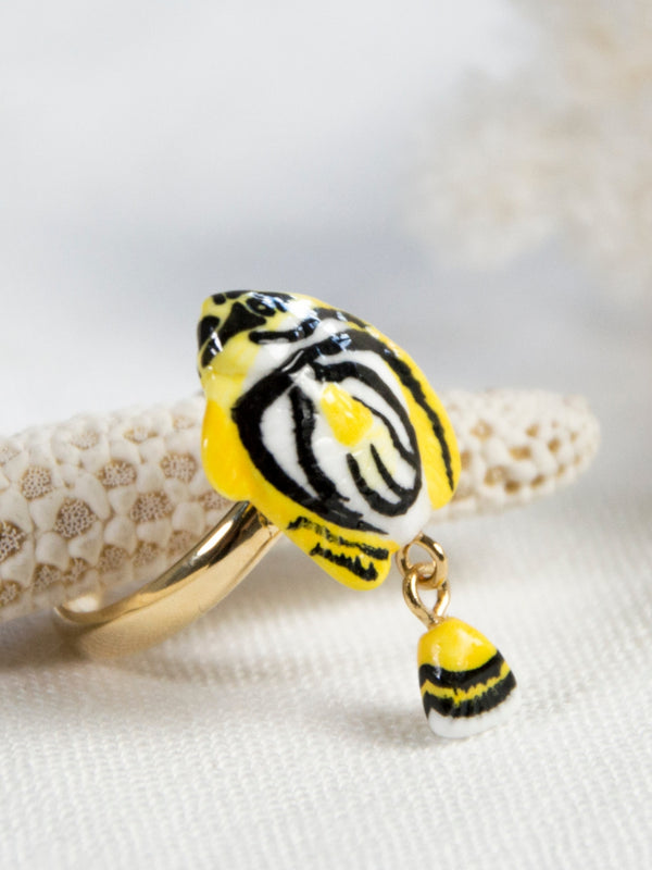 Yellow Butterfly Fish with Fishtail moving ring