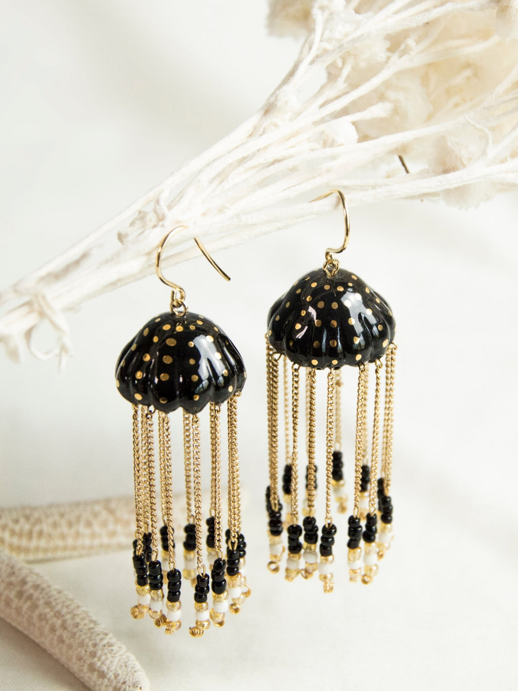 Black and Gold Jellyfish earrings