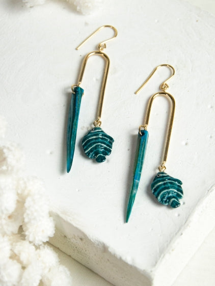 Nach Bijoux Blue fish and shell earrings