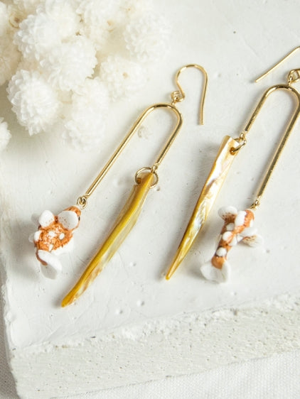 Orange Fish and Shell earrings