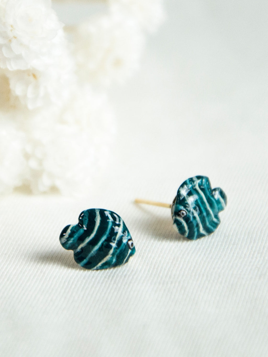 Blue and White Fish stud earrings