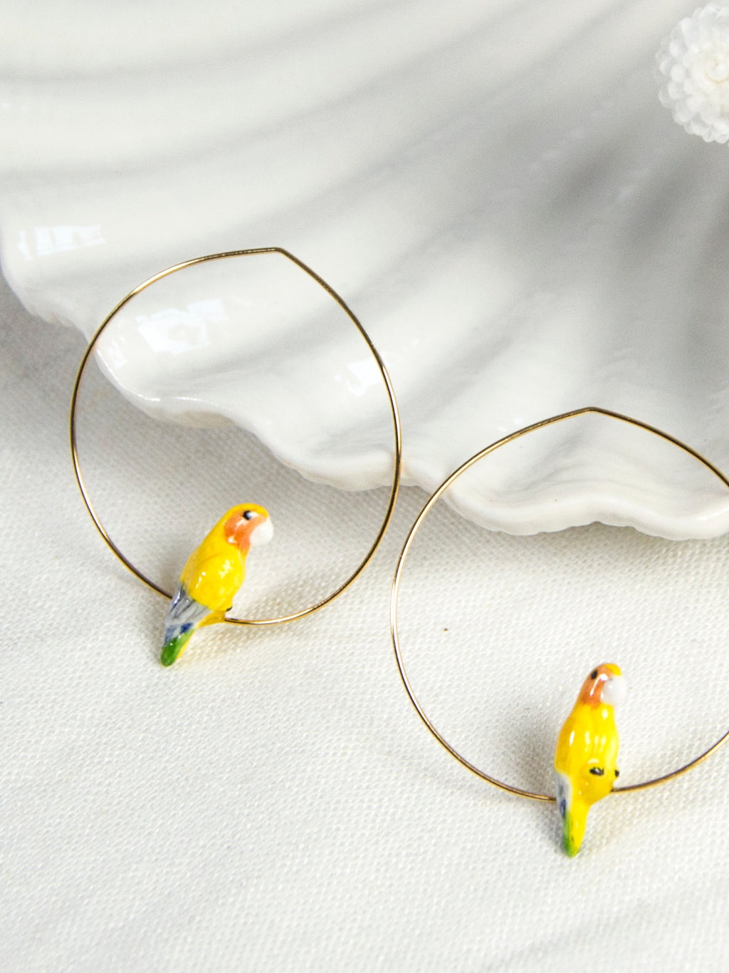 Yellow Parrot Hoops earrings