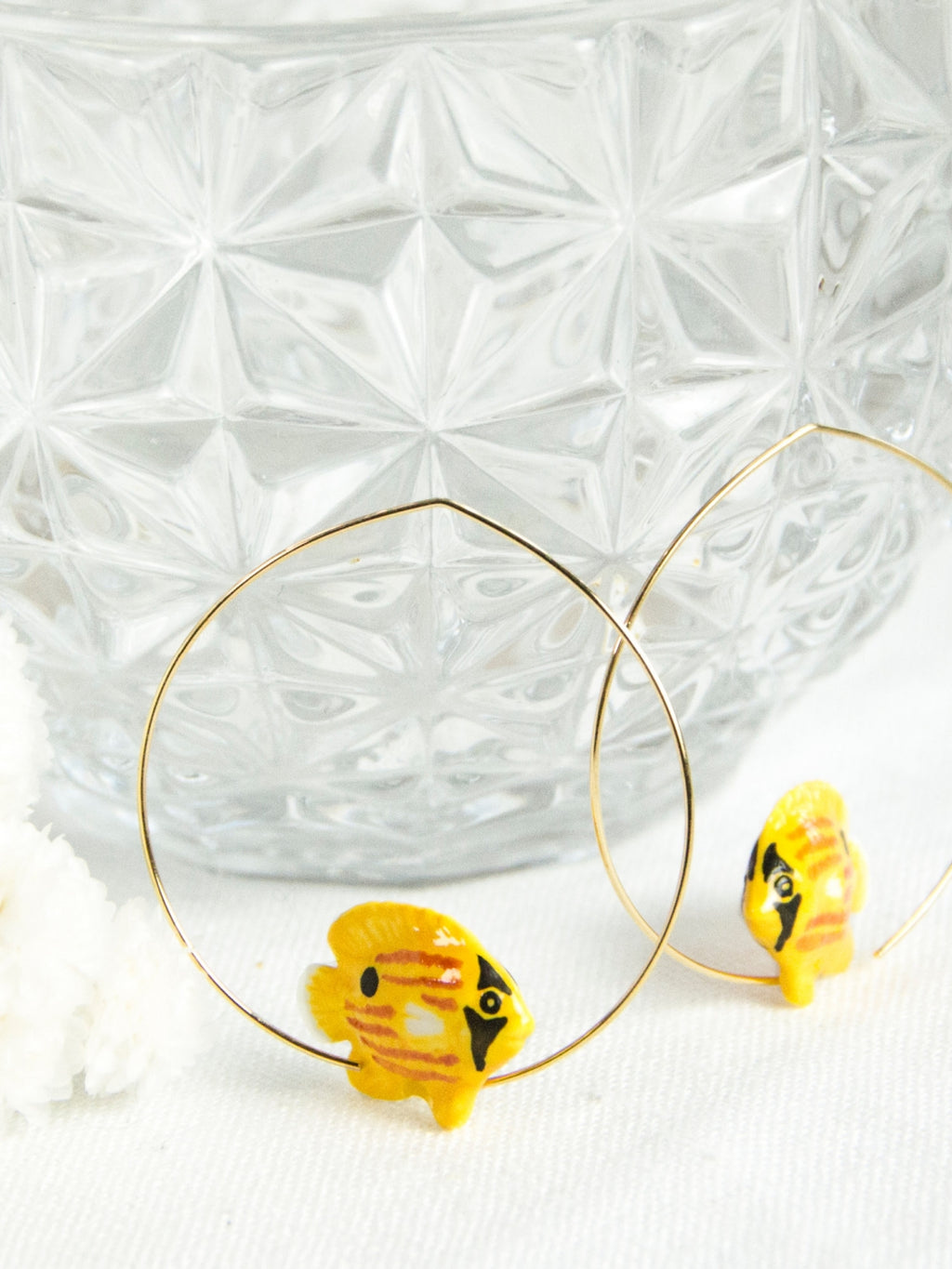 Yellow Butterfly Fish Hoop earrings