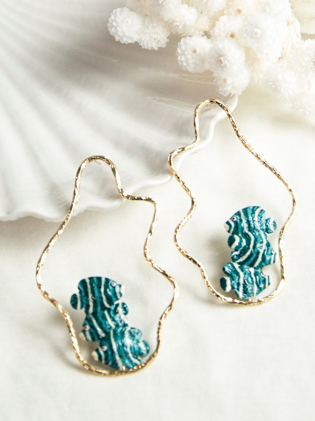 Blue and White Fish Wave Hoop earrings