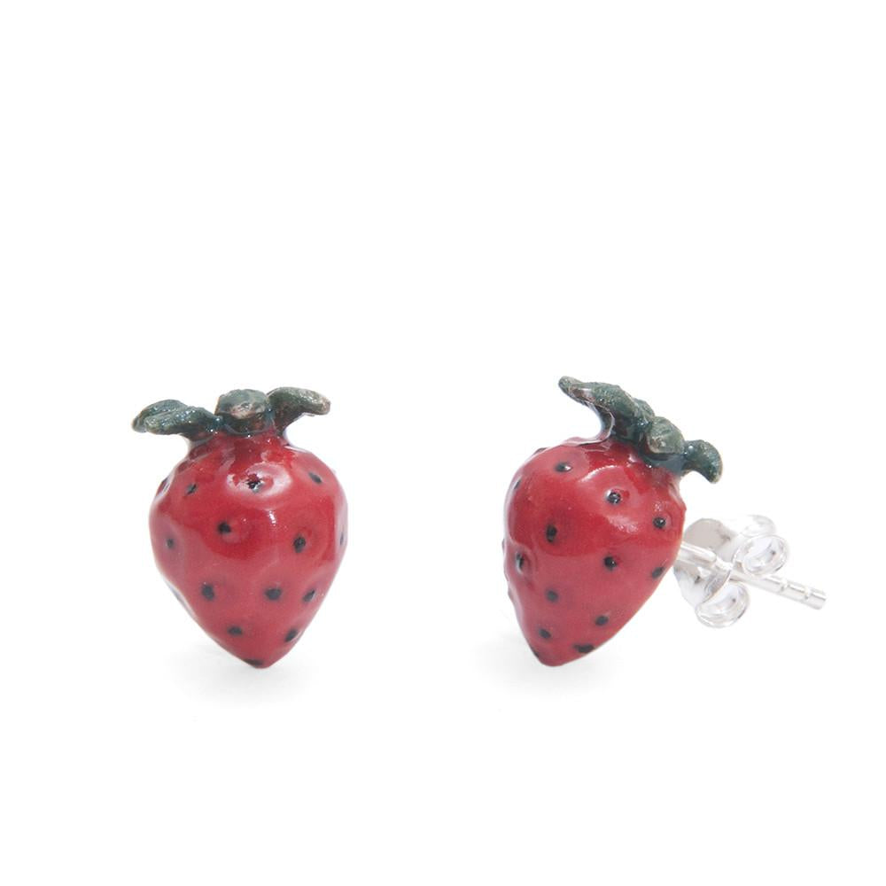 strawberry porcelain earrings
