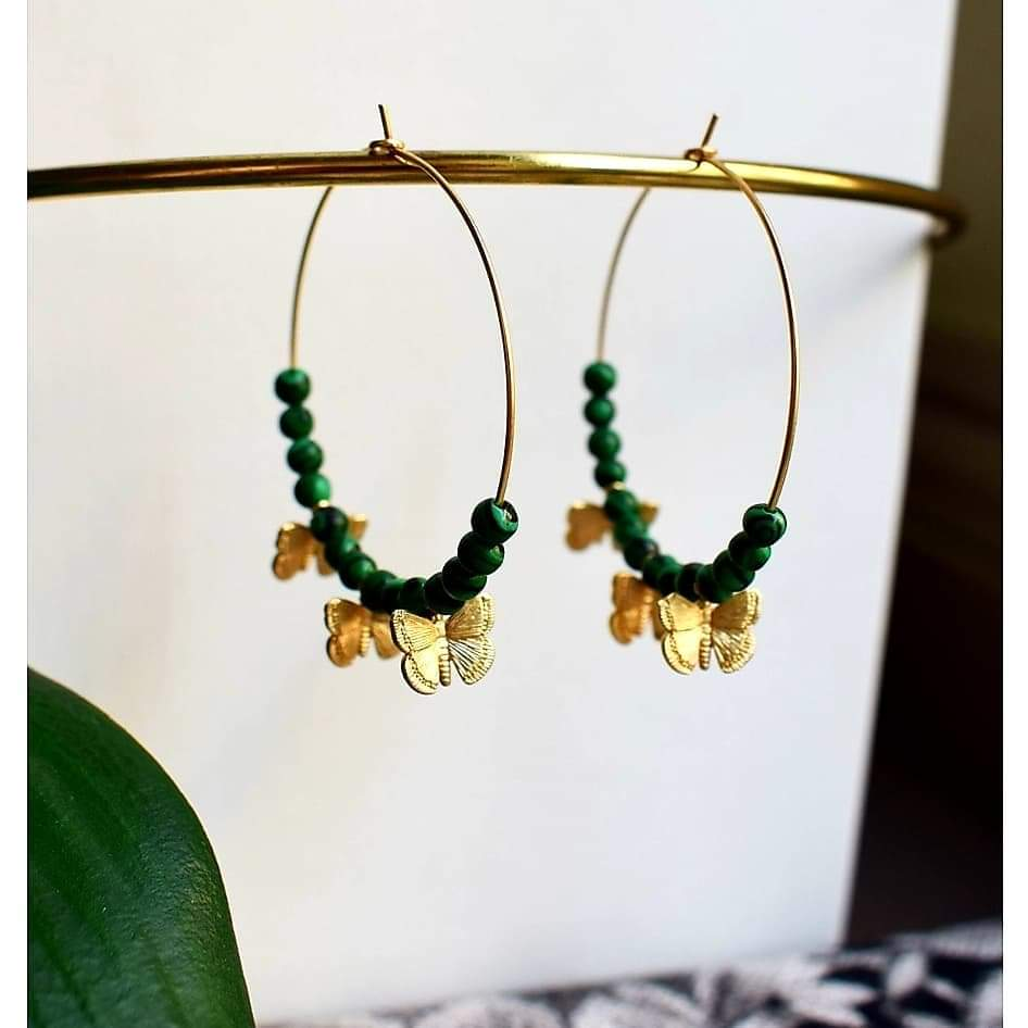 Butterfly and Malachite earrings