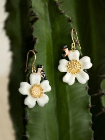 flower and bird earrings made from porcelain