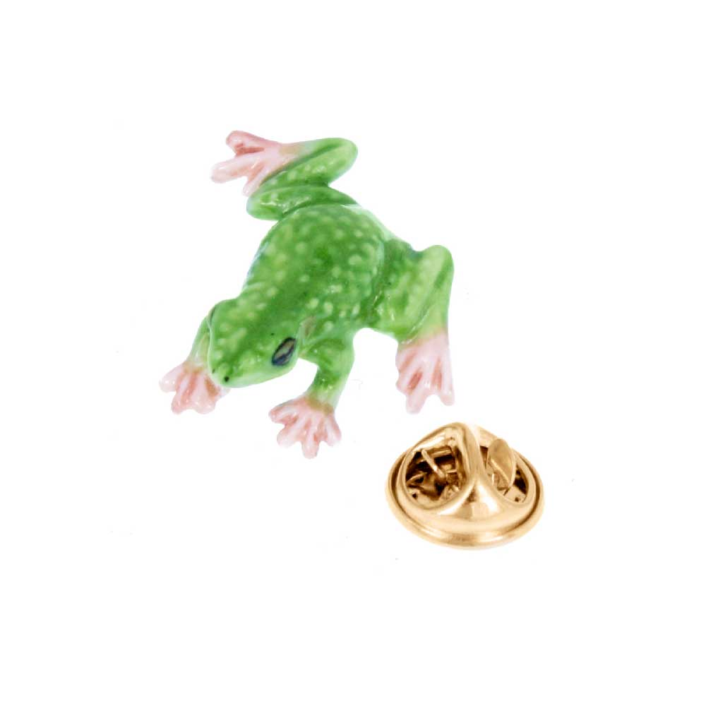 Frog pin from porcelain