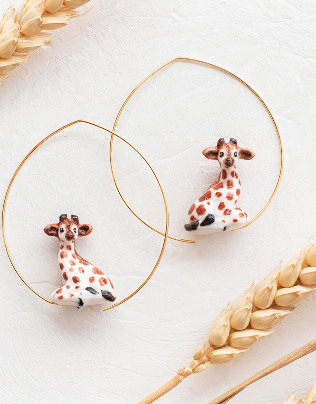 Girrafe hoops earrings made from porcelain nach bijoux