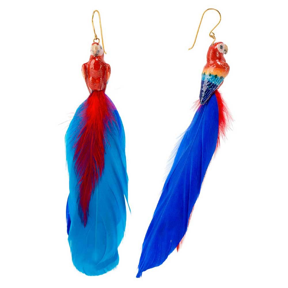 Blue and Red Parrot with feather earrings