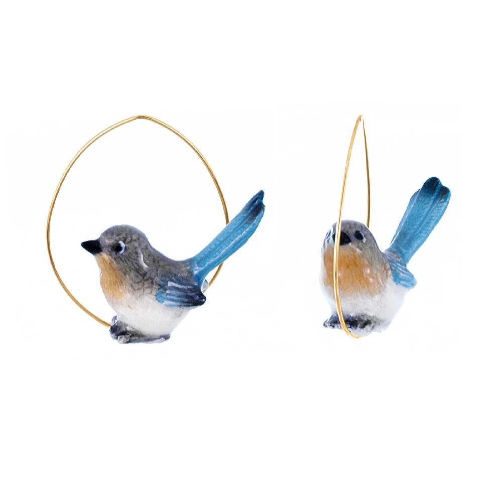 Blue Pie Bird Hoops earrings