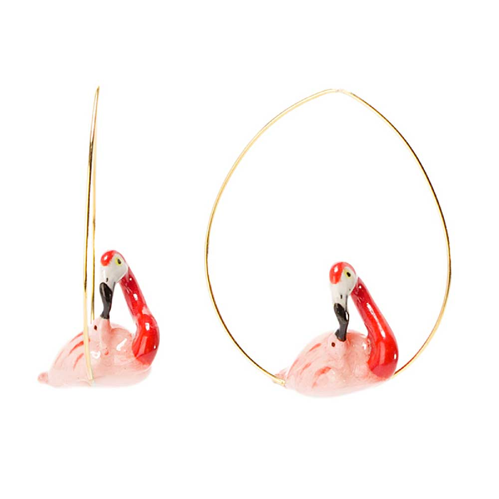 Flamingo Mummy and Baby hoops earrings