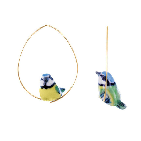 Bluetit Bird Hoops earrings