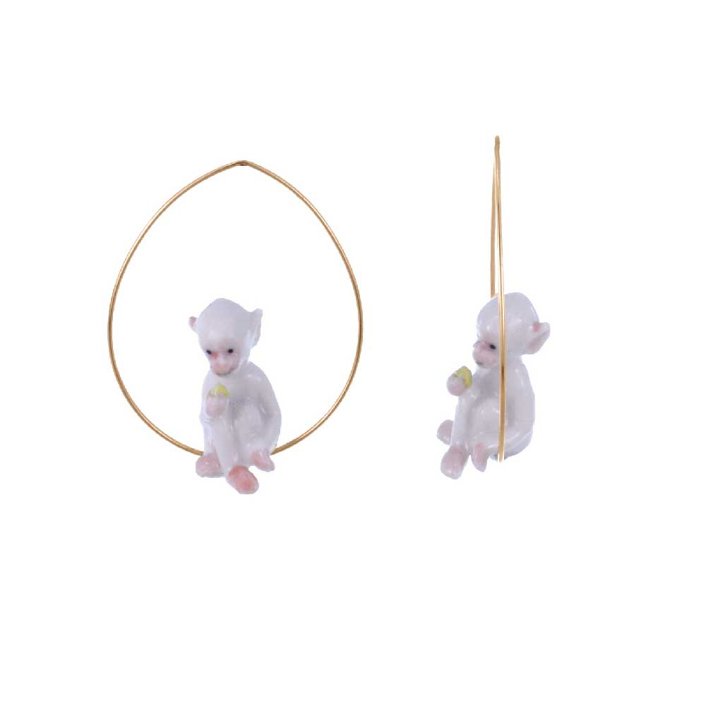 White monkey Hoops earrings