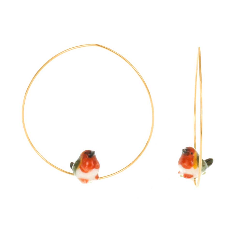Mini Robin Bird hoops earrings