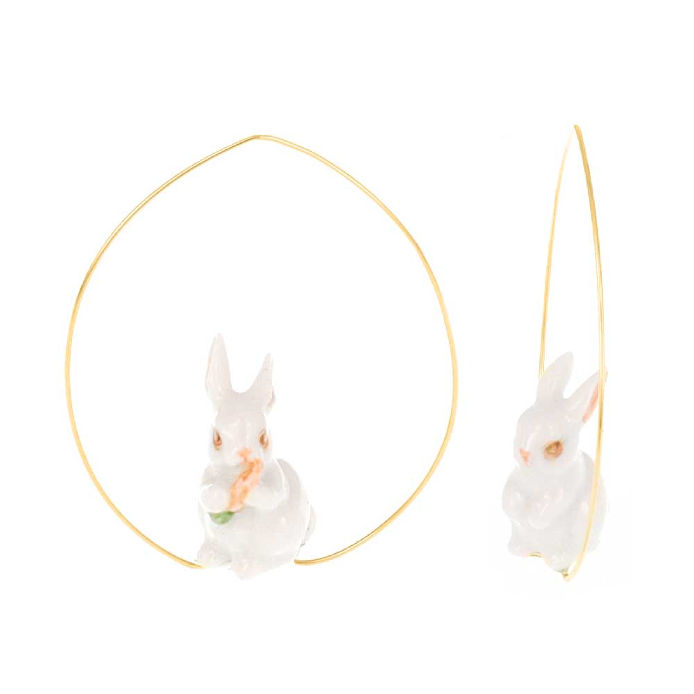 White Rabbit eating a carrot Hoops earrings