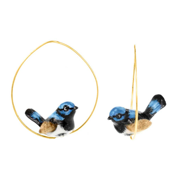 Blue Fairy Wren Bird Hoops earrings