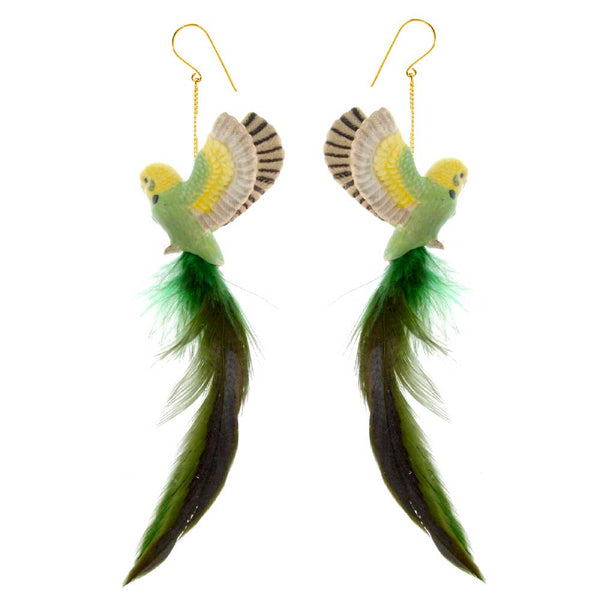 Green Budgerigar with feather earrings