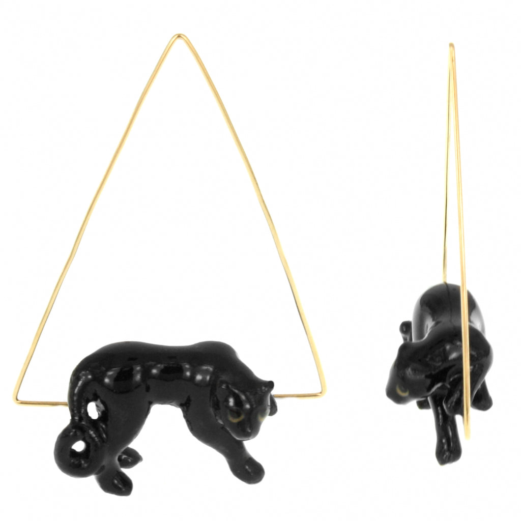 Triangle Hoops Lying Black Panther Earrings